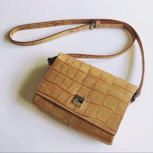 DOONEY & BOURKE // tan croc leather crossbody bag